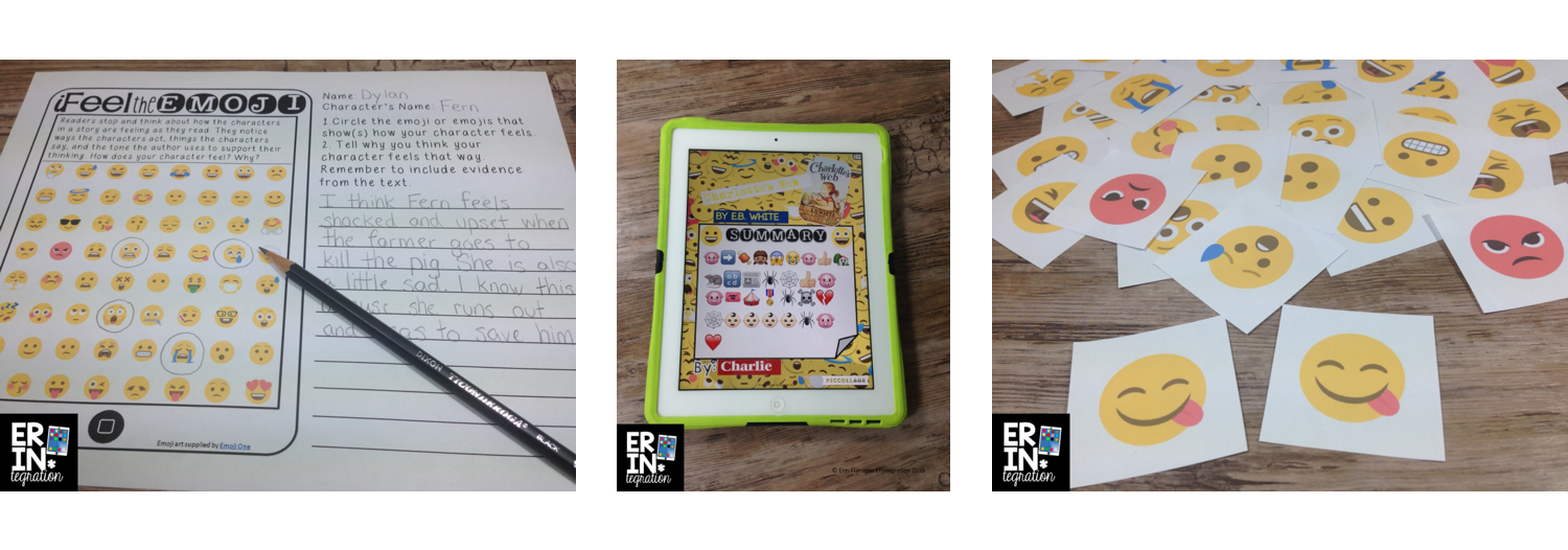 Worksheets, tablet applications, and flashcards using emoji are shown.